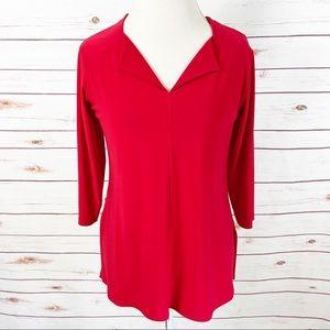 Sympli Red Jersey Stretch Top V-Neck Pearl Beads